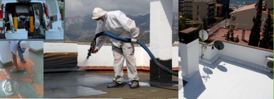 Commercial roofing waterproof spray application